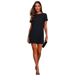 LULUS Shift and Shout Solid Black Short Sleeve Lined Shift Dress Women's XS